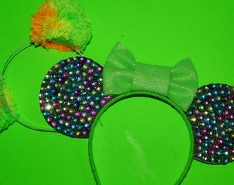Buy One Get One FREE: Mulit-Rhinestone Neon Green Bow