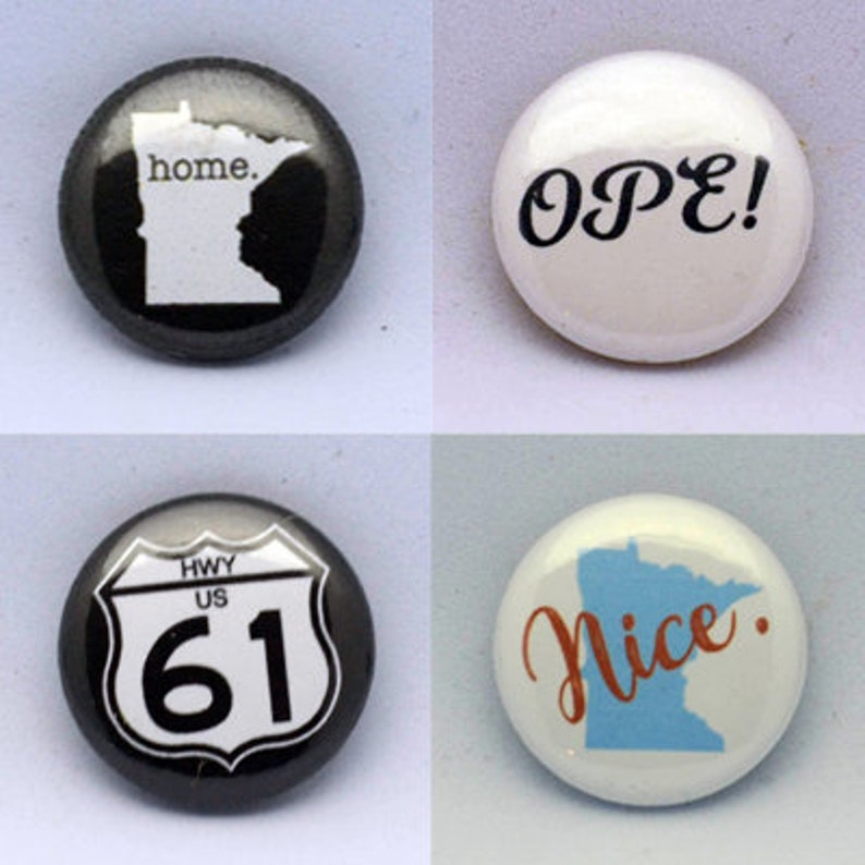 4 Pack Minnesota Pride 1 Pin Back Buttons