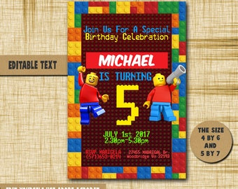 Lego Invitation, Lego Birthday, Lego Birthday Invitation,Lego PDF editable text,Lego party,invitation Lego,Birthday,Invitation,Lego