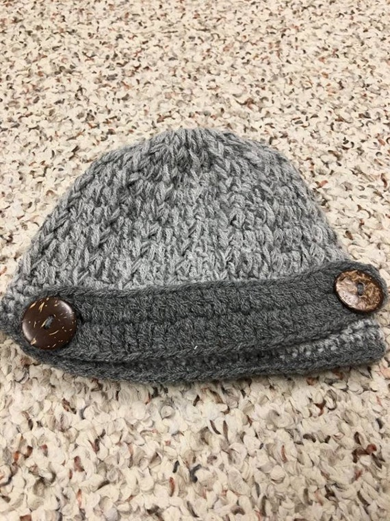 bf8974d0bb8 Gray Baby Boy Fisherman Style Hat with Vintage Buttons. Size
