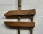 Vintage Wooden Clamp, Carpenter 39 s Adjustable Wood Working Vice, 12 1 4 quot Screws and 10 quot Clamps Grips, Rustic Country Farmhouse Decor