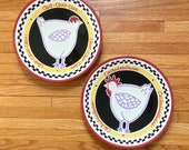 Vintage BECKY DENNY Hen Rooster Serving Platter Set, Southern Living 12 quot Collectible Plates, Farmhouse Kitchen Chicken Rooster Decor