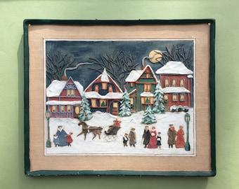 Santa Solid Poplar Wood Village Display 20 Inch Long Shelf Christmas Wall Decorating Reindeer Keyhole Mount Paint Grade Unfinished