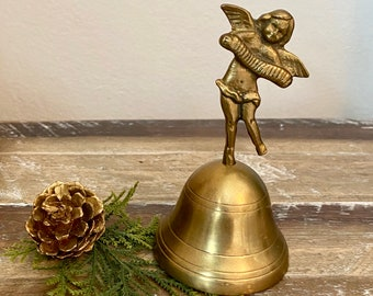 vintage brass angel bell over 6 inches tall angel desk bell gift idea