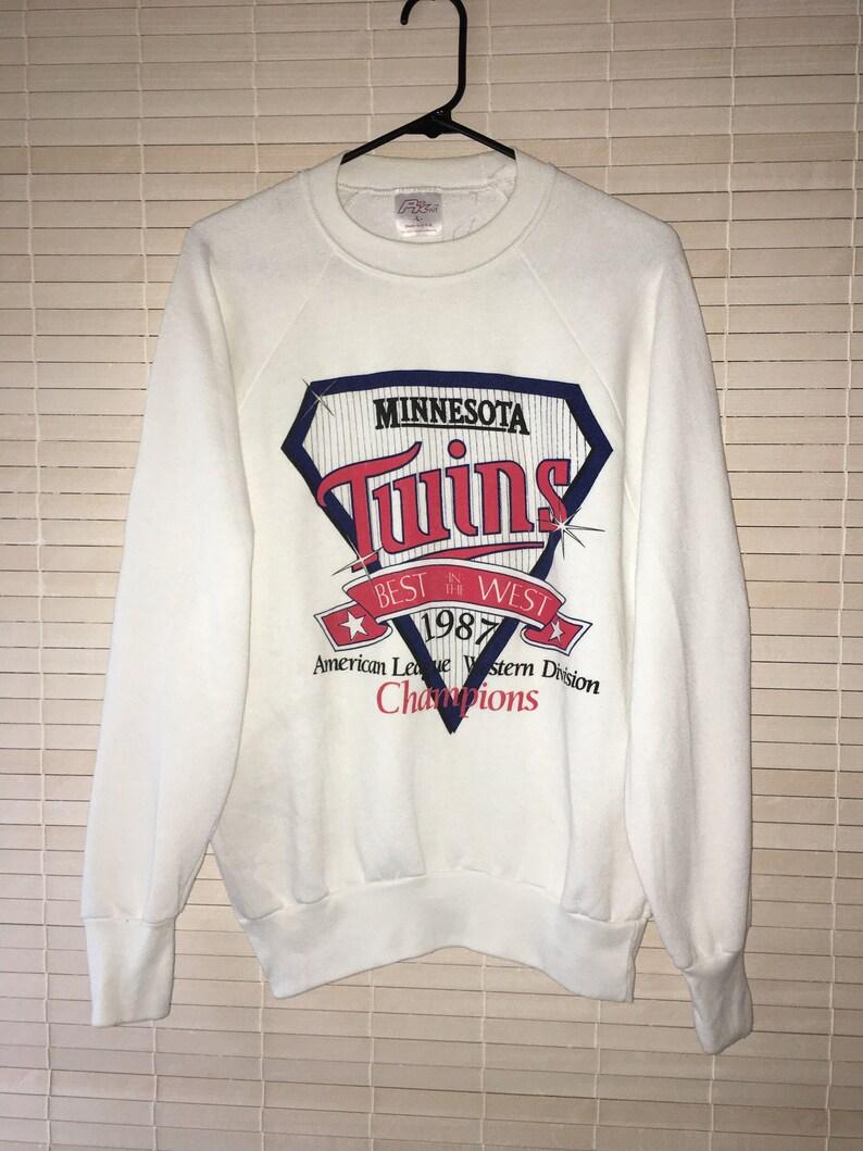 online store ff7f0 7c615 1987 MINNESOTA TWINS Sweatshirt American League Western Division Champions  Baseball Sports Team Athletic Wear, White, MN Twins Memorabilia