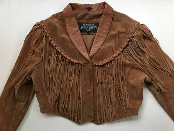 Vintage LEATHER GALLERY Brown Fringed Jacket, Crop