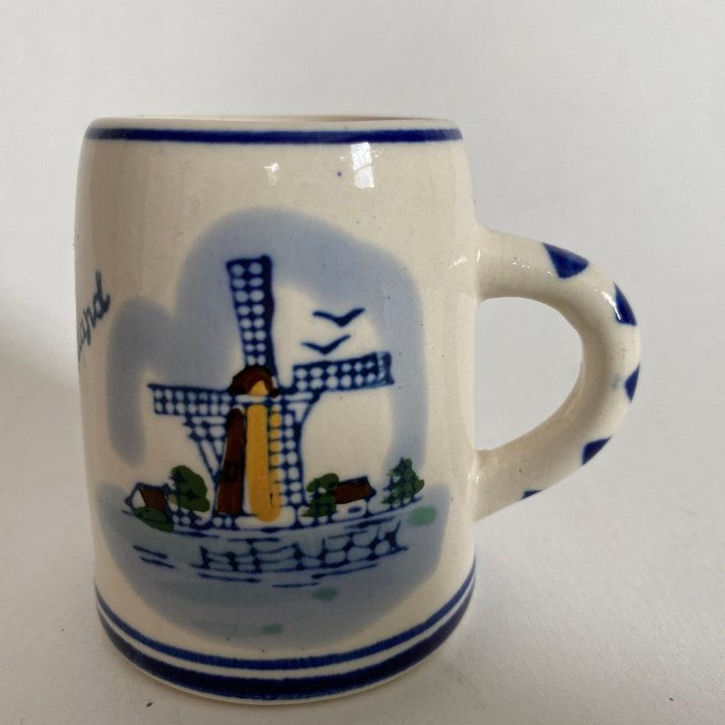Vintage HOLLAND DELFT Ceramic Mug Windmill Scene 2-12 H Blue /& White Decorative Handcrafted Small Traditional Dutch Souvenir Folk Art