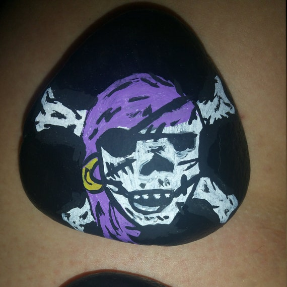Pirate Painted Rock Halloween Pirates Ooak Art Painting Painted Stone Painted Rock Rock Rock Art Garden Stones Garden Art Decor