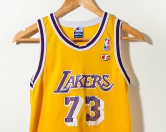 62e41697f150 Vintage 90s Lakers Champion Dennis Rodman Jersey Small 1999 Sports NBA  Yellow Purple Basketball Los Angeles Athletic Wear 90s style Athletic