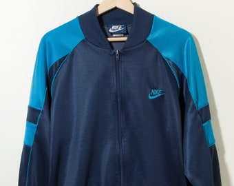 3d8424702 Vintage 1980's Nike Track Jacket Blue Tag Made in USA Navy Blue Mint  Condition Gray Tag Adidas Air Jordan Single Stitch Basketball Coach GAP