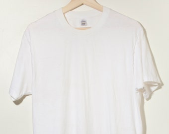 46b12009 Vintage 90s Jockey Single Stitch Blank Plain White T-Shirt Made in Jamaica  Minimal Work Wear Levi's Sears Velva Sheen JC Penny Hipster Mod
