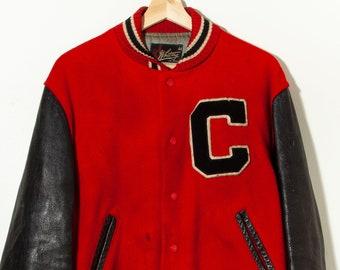 L Whiting Co. Vintage Lettermans varsity sweater jacket V 50/'s size 44 medium large H