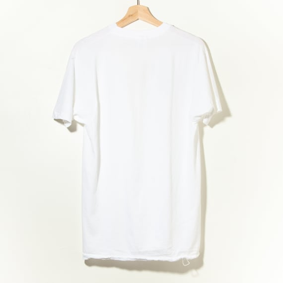 90s Vintage Single Stitch White V-Neck T-Shirt Ha… - image 2