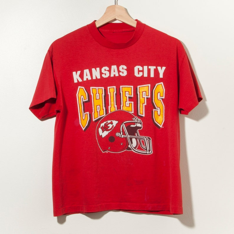 check out 728f7 bcaed 90s Kansas City Chiefs T-Shirt Single Stitch Made in USA Retro Throwback  NFL Football Thrashed Distressed Thin Soft Royals Red Yellow Sports