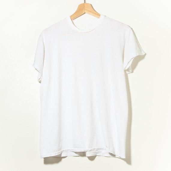 70s Vintage Single Stitch Blank White T-Shirt Dist
