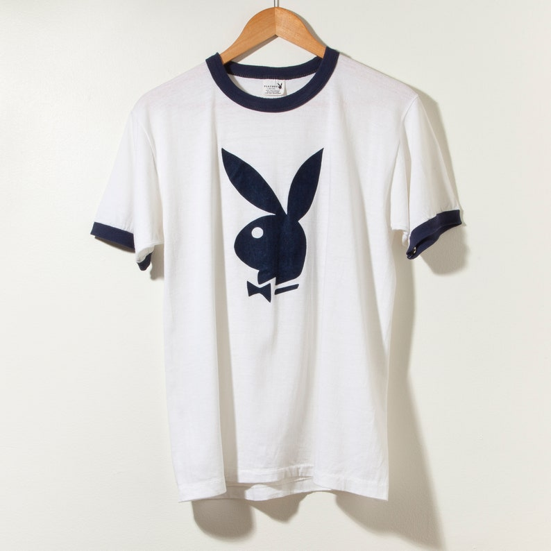 d61e77cacebd Vintage Playboy Bunny 70s Ringer T-Shirt Single Stitch Made in   Etsy