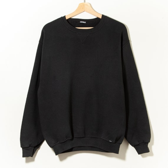 90s Vintage Distressed Black V-Stitch Crewneck Swe