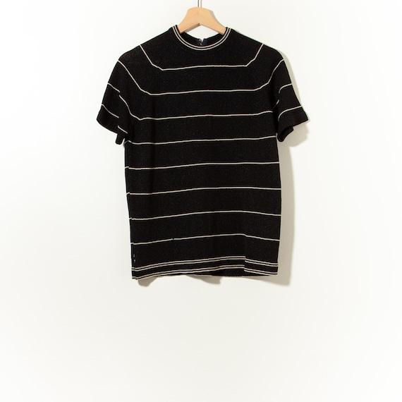 Vintage 60s Stripped Short Sleeve Mod Mock Neck To