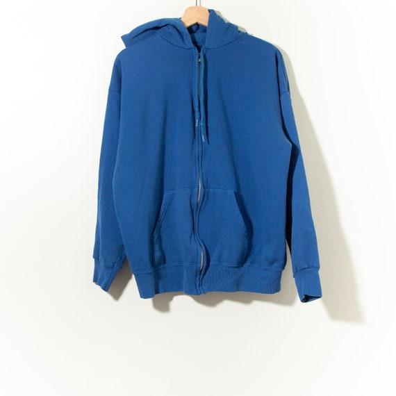 80s Vintage Distressed Blank Royal Blue Zipper Hoo