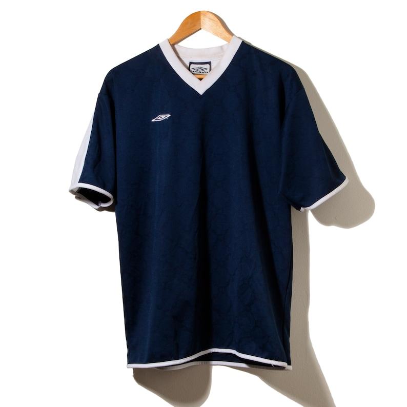 Vintage Rare 90s Umbro Soccer Jersey Navy Blue White Made  e8aba8b92