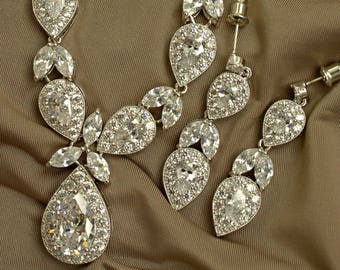 Crystal Bridal Necklace and Earrings Set, Statement wedding Jewelry for Bride, Bride Jewelry,