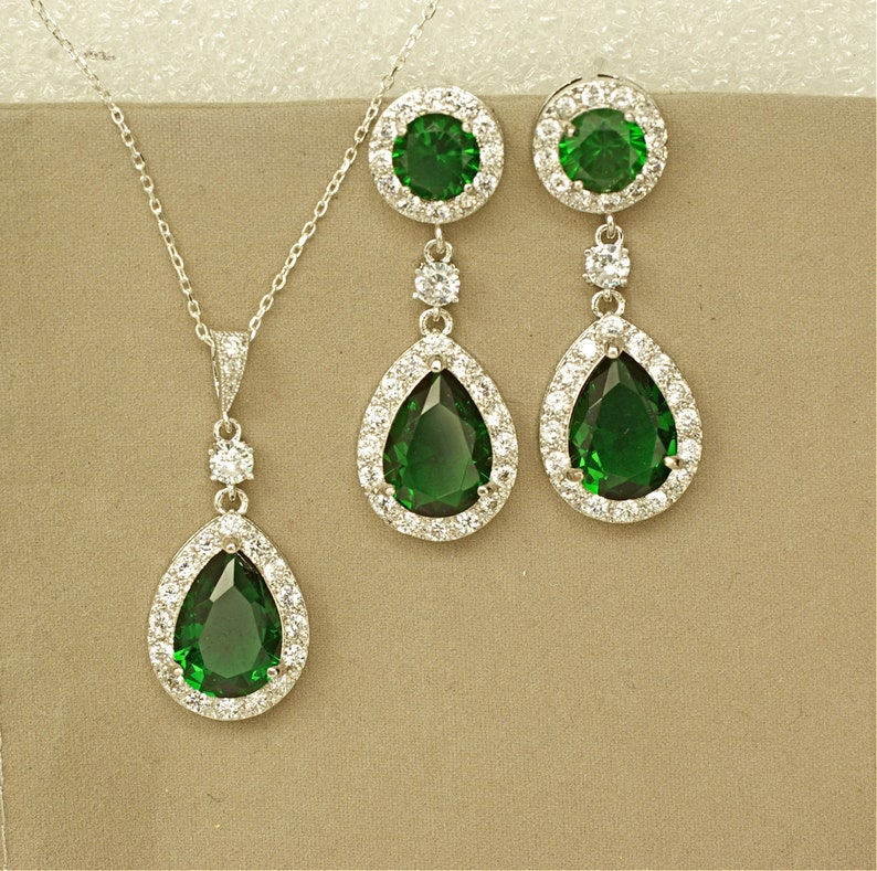 Green Wedding Jewelry for Bride Emerald Green Bridal Set Green Crystal Necklace and Earrings Set for Bride