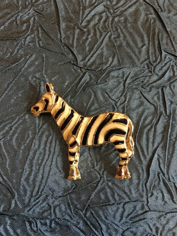 Enamel Zebra Brooch