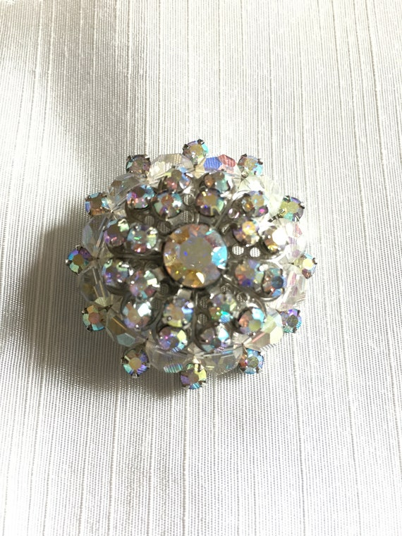Huge Sparkle Brooch  vintage Rhinestone pin  Drag Queen  silver jewelry  Name brooch  BIG 3 12 pin  unisex pin