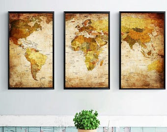 World map painting etsy 3 piece world map oil painting canvas print gumiabroncs Images