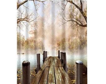 Lake Dock Digital Printed Bathroom Shower Curtain