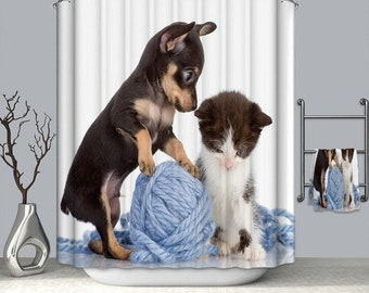 Cat And Dog Printed Bathroom Shower Curtain