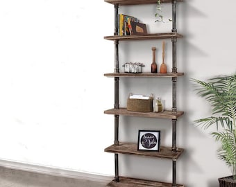 Rustic Iron Pipe And Wooden Ladder Bookshelf
