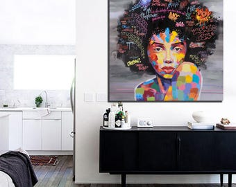 Canvas Oil/Print Painting - Abstract Modern African Women Portrait