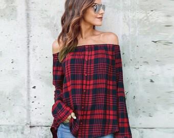 Women's Plaid Top Off Shoulder Long Sleeve T-Shirt