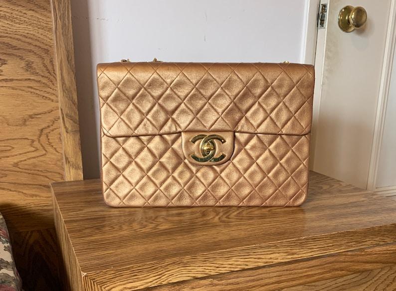 3cda7598aa5e0c Chanel Metallic Bronze Quilted Leather Classic Maxi Jumbo XL | Etsy