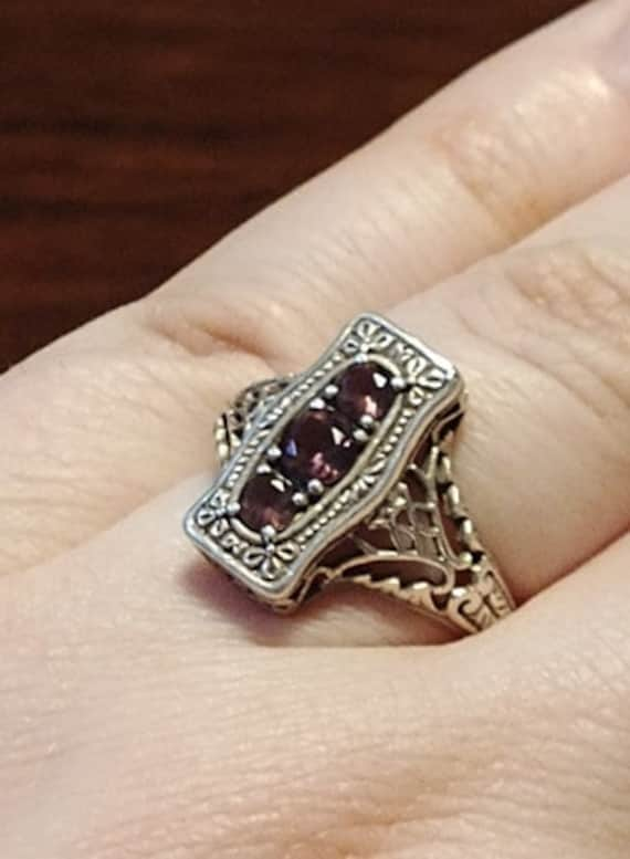 Vintage Art Deco Style Silver Amethyst Ring