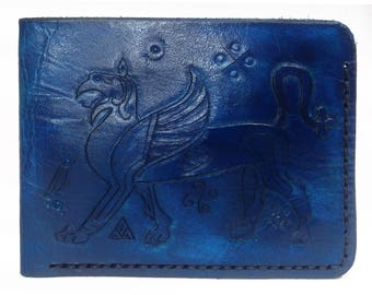 Blue leather wallet, hand-tooled griffin