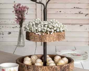 Bird and Birch Two Tiered Tray, pastry display, cupcake stand, coffee station, coffee bar