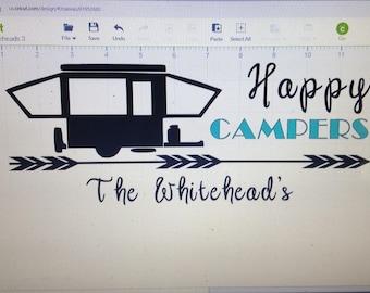 Happy Camper vinyl Decal, rv decal, pop up camper decal, customized vinyl decals