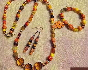 Three Peice BoHo Jewelry Set, Multi-Colored Three Peice Jewelry Set