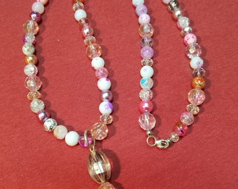 Women's Bohemian Style Beaded Necklace in Pink, Lavender, and White, Multi Colored Beaded Necklace