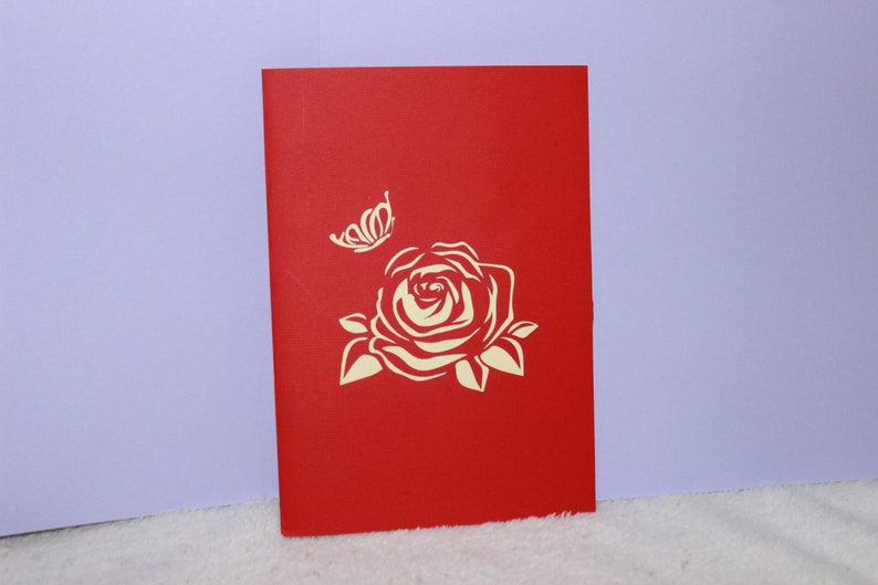 Pop up Card Roses  Bouquet 3D Get Well -Thank You Birthday- Wedding- Anniversary