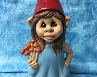 Superieur Girl Gnome With Mushrooms, Handcrafted Girl Gnome, Garden Art Girl Gnome,  Handcrafted Gnome