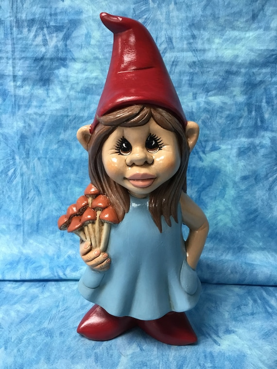 Girl Gnome With Mushrooms Handcrafted Girl Gnome Garden Art | Etsy
