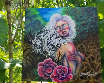 """Fine art print. Abstract pop surreal vibrant oil painting. """"Snare"""" . Secret garden. Thorns. Lost"""