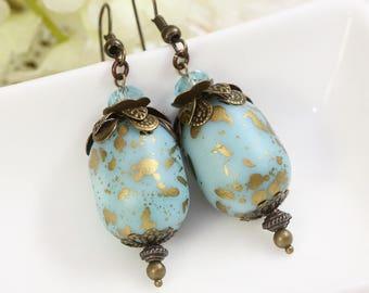 Large Blue Earrings, Sky Blue Earrings, Big Earrings Drops, Resin Earrings, Earrings under 10, Bridesmaids Gifts under 10