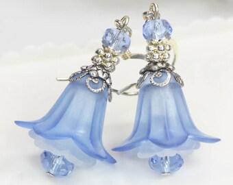 DIY Earrings Kit, Blue Earrings Kit, Lily Earrings, Lucite Flower Earrings, Lucite Earrings Kit, DIY Jewelry Kit, Blue Flower Earrings Kit