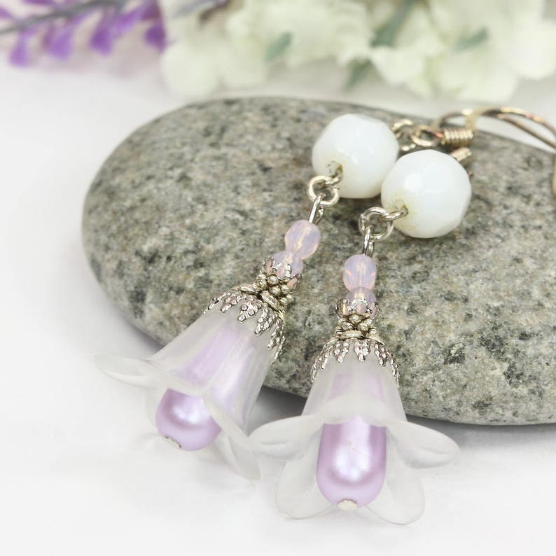White Lily Earrings Lucite Earrings White Flower Earrings Wedding Earrings Trumpet Lily Dangles White Lily Drops Bridesmaids Gift