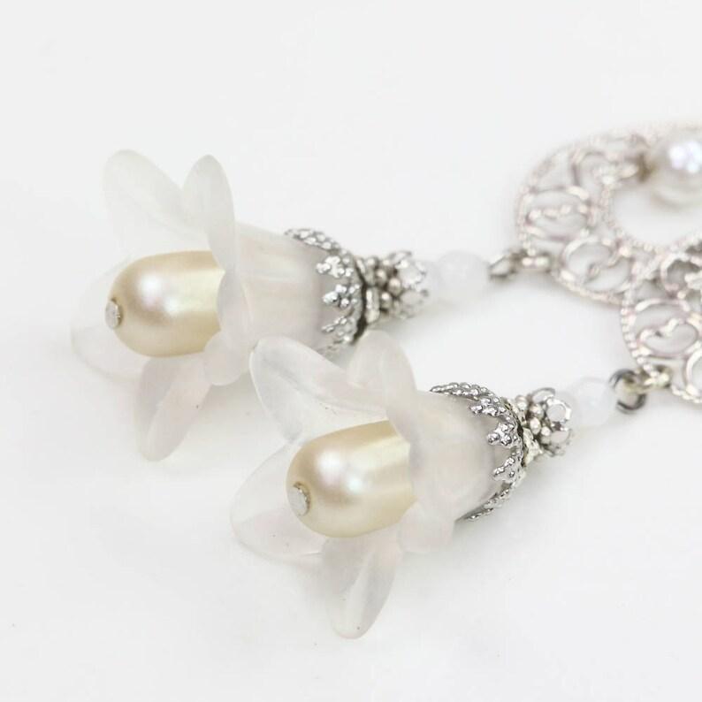 Bridal Earrings under 20 Trumpet Lily Earrings Filigree Earrings White Flower Earrings Lucite Flower Dangles White Petunia Earrings