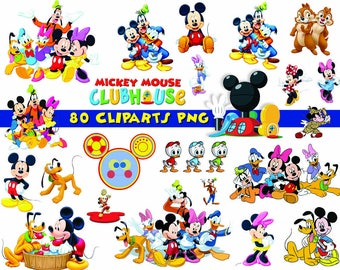 INSTANT DL  80x Mickey Mouse Clubhouse Clipart   Printable Digital Clipart  Graphic Instant Download